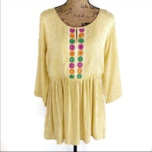 Studio West Yellow Stripe Embroidered Flower Tunic